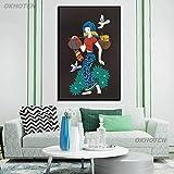 ganlanshu Frau Vogel Ölgemälde Stil Poster Wandbild Leinwand Malerei Wohnzimmer Schlafzimmer Home Decoration Nordische rahmenlose Malerei 60cmX90cm