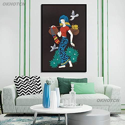 ganlanshu Frau Vogel Ölgemälde Stil Wandplakat Leinwand Bild Wohnzimmer Schlafzimmer Wohnkultur nordische rahmenlose Malerei 50cmx75cm