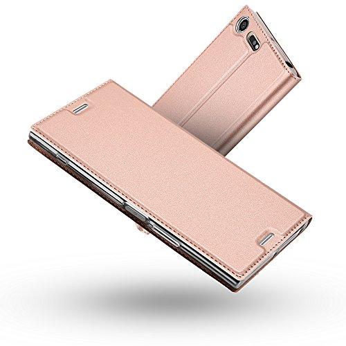 Radoo Cover Sony Xperia XZ Premium, Slim-Fit Folio Premium Custodia Vintage PU Pelle con [Kickstand] Tasca Stile Unico Sottile Funzione TPU Antiurto Flip Cover a Libro(Oro Rosa)