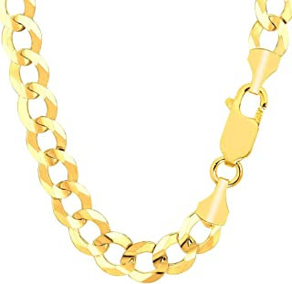 "TheDiamondDeal Mens Solid 14K Yellow Gold 10.00mm Shiny Cuban Comfort Curb Cuban Chain Necklace For men for Pendants and Charms Or Mens Bracelet with Lobster-Claw Clasp (8.5"", 22"", 24"", or 26 inch)"
