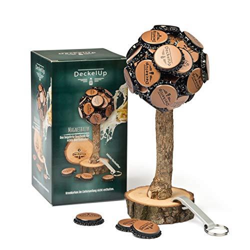 DeckelUp Coperchio per birra, albero in legno di quercia massiccio, con tappo a corona e apribottiglie, albero di birra con tappo a corona, magnete