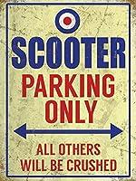 スクーター駐車場のみ 金属板ブリキ看板警告サイン注意サイン表示パネル情報サイン金属安全サイン
