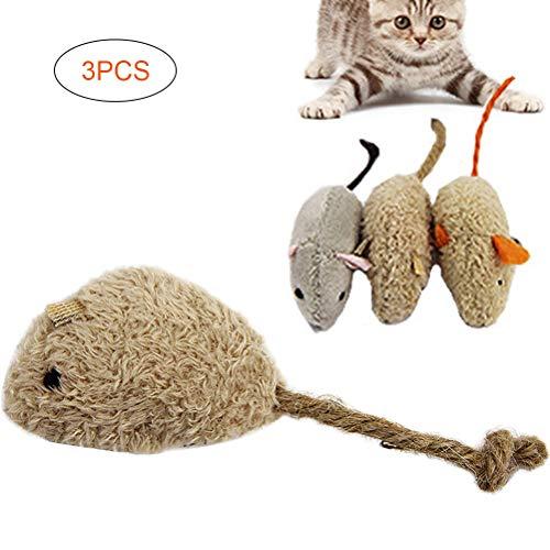 Kawosh 3PCS Giocattolo Gatto Giocattolo Topo per Gatti Giocattolo Topo in Peluche Giocattolo interattivo per Gatti Gioco del Gattino Caccia (Colore Casuale)