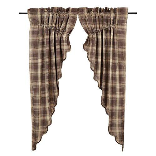 VHC Brands Dawson Star Scalloped Prairie Curtain Lined Set of 2 63x36x18