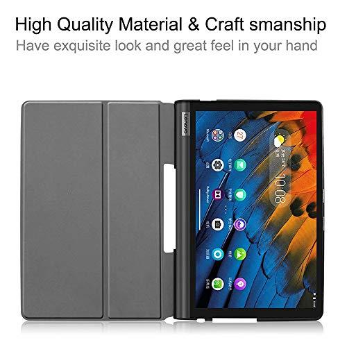 Ash-case Hülle für Lenovo Yoga Smart Tab 10.1 Inches 2019, Ultra Slim Schutzhülle Hochwertiges PU mit Standfunktion Perfekt Geeignet für Yoga Smart Tab 10.1 Inches,Soot Eye+1xSilberner Touch-Stift