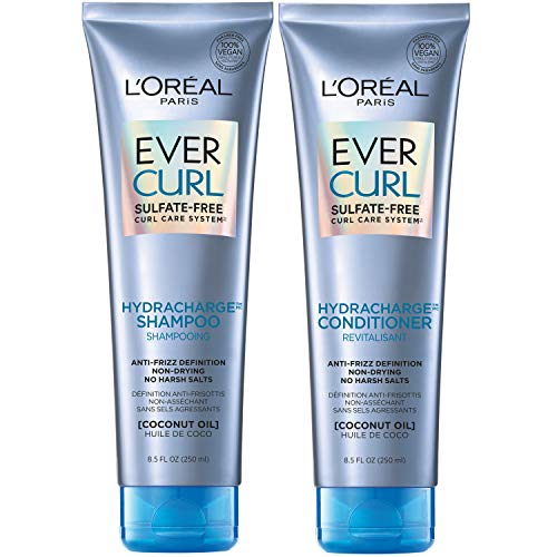 L'Oréal Paris EverCurl Shampoo and Conditioner Kit for Curly Hair, 8.5 Ounce, Set of 2 (Packaging May Vary)
