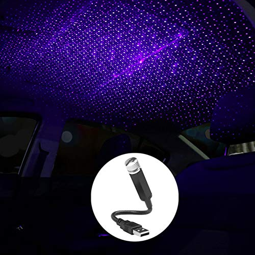 JWJAN USB Star Projector Night Light,Adjustable Romantic USB Lights for Room Decor Car Camping Roof Party ,Car Interior Lights Inside Your Car(Blue Purple)