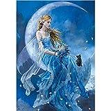 5D Diy Luna Luna Patrón de ninfa Mosaico Diamante Pintura Diamantes Bordado Paisajes Decoración Arte y artesanía Papel de pared V590, Broca cuadrada, 20X30 CM