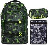 Satch Pack Off Road 3er Set Schulrucksack, Schlamperbox & Heftebox Schwarz