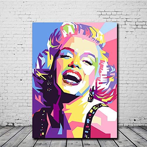 FXBSZ Marilyn Monroe's lienzo colorido retrato abstracto póster lienzo arte de la pared cuadro sin marco para sala de estar decoración del hogar 50x70cm Sin marco