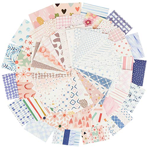 300 hojas Papel Scrapbooking 56 x 83mm Bloc de Papel de Diseño para Manualidades Materiales de Scrapbooking Decoración DIY Álbumes de Recortes Colección