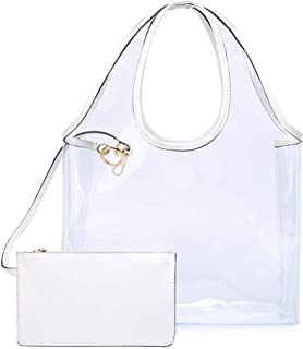 Women Large Clear Bag Waterproof PVC Shoulder Hobo Bag Summer Beach Handbag and Purse with Wallet