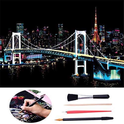 LazLake Scratch Art für Erwachsene, Scratch Paper Rainbow Painting Skizzenblöcke DIY Art Craft Nachtsicht Scratchboard mit sauberem Pinsel, Scratch Malstift (Tokyo)