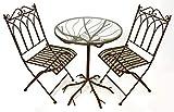 GeKi Trend Bistroset 3 teilig rund aus Eisen mit Glasplatte, Balkon-Set hochwertig