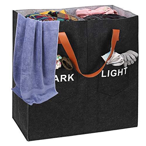 Wäschekorb, Freistehende Wäschesammler 2 Fächer mit Griffen, 117L Faltbarer und 2 Kleinen Taschen Wäschesack mit Großem Fassungsvermögen
