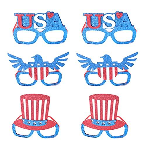 VALICLUD 6 Unidades de Gafas de Bandera Americana Gafas de Sol de Fiesta Patriótica de EE. UU. Cuarto/ 4 de Julio Gafas Geniales Gafas para Accesorios de Fiesta Favores de Disfraces