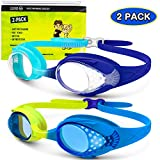 OutdoorMaster Kids Swim Goggles 2 Pack - Quick Adjustable Strap Swimming Goggles with Clear/Tinted Lens 3D SNUG Fit...