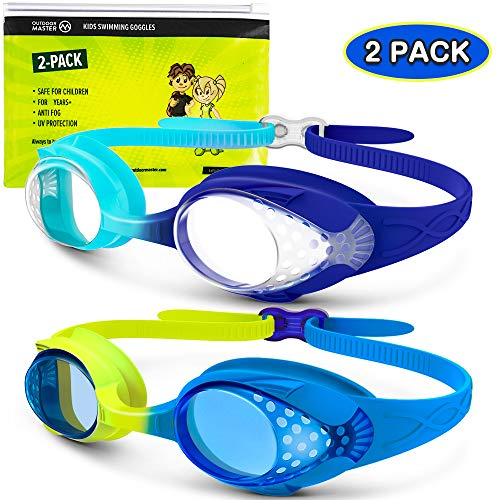 OutdoorMaster Kids Swim Goggles 2 Pack - Quick Adjustable Strap Swimming Goggles with Clear/Tinted Lens 3D SNUG Fit Anti-Fog Waterproof 100% UV Protection for Child Teens Toddler Age (3-16)-A