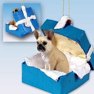 French Bulldog Fawn Gift Box Blue Ornament (Set of 6)