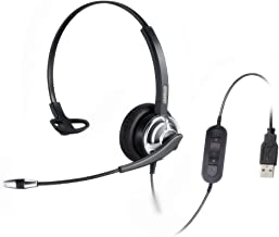 emaiker Mono USB Headset with Microphone Noise Cancelling and Volume Controls, Computer Headphone Headset with Voice Recognition Mic for PC Softphones Business Skype Lync Conference Online Course