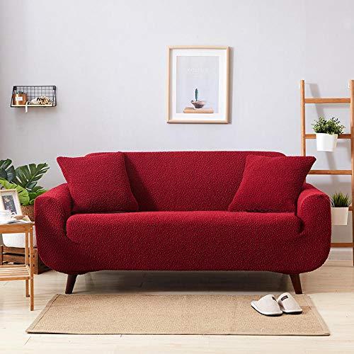 Forro de Sofá Doméstico,High Elastic Sofa Cover, Thick Full-Cover Sofa Cover, Living Room Sofa Cover, for Living Room Sofa Cover Sofa Towel-Wine Red_145-185
