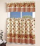 3 Piece Kitchen Curtain Linen set with 2 Tiers 27' W (Total Width 54') x 36' L and 1 Tailored Valance 54' W x 15' L, Orange Yellow Green Pumpkin Autumn Season Leaf Design Kitchen Curtain Décor Linen