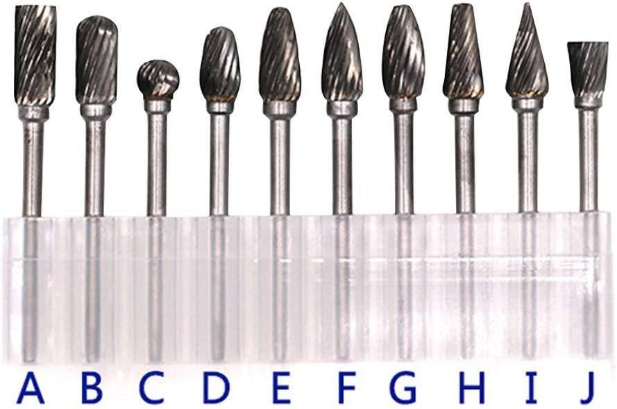 MEITA Rotary Grinder Burr Bits Tungsten Carbide Burr Radius End Single//Double Cut Rotary Burr File