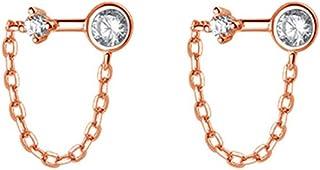 Tassel Chain Crystal Stud Earrings Sterling Silver 925 for Women Girls Minimalist Arrow Cubic Zirconia Threader Dangling T...