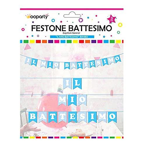 WOOPARTY Festone Battesimo Bambino 14 Bandierine Addobbi Decorazioni Festa Striscione 3MT
