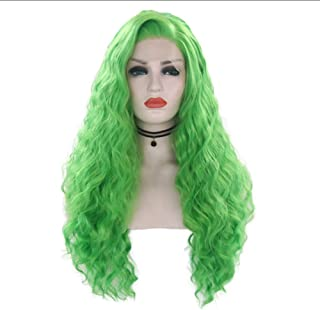 Huanxidp 28 inch Synthetic Lace Front Wig Mint green purple red pink blonde blue Long Curly Heat Resistant Cosplay Wigs-G