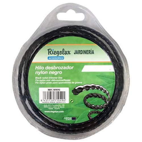 Riegolux 107679 Hilo Desbrozadora Nylon Helicoidal, Negro, 4 mm x 15 m