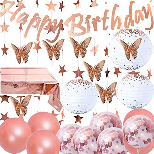Jolily Rose Gold Happy Birthday Decorations Banner 3 Big Size Paper lanterns, 12 Rose Gold Butterflies Wall Stickers, Star Garland, Foil Table Cover and Confetti Balloons