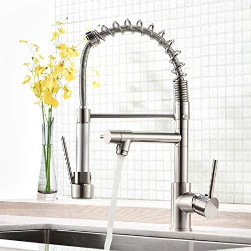 AIMADI Wasserhahn Küche Küchenarmatur mit Brause 360° schwenkbar Mischbatterie Spiralfeder Armatur Spültischarmatur Spiralfederarmatur Gebürsteter Nickel