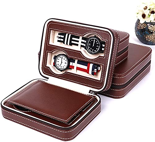 YCKL Reloj Box 4 Place Zip Watch Pouch PU Cuero de Cuero Joyas de Almacenamiento Caja de Reloj con Estuche de Almohada (Color: Borgoña, Tamaño: Un tamaño) (Color : Wine Red, Size : One Size)