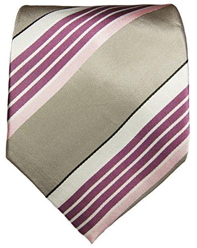 Cravate homme rose gris rayée 100% soie