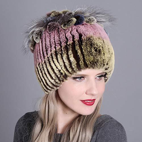 Xme Rex Kaninchenfell gewebt Hut, weibliche Leder Strohhut, Herbst und Winter warme Dicke Strickmütze