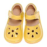 LilyPipSqueak Toddler Infant Girl Squeaky Shoes Petal Yellow Free Stoppers Size 9M