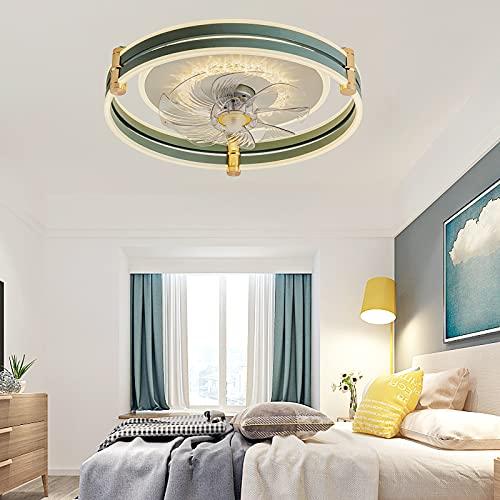 Ventilador De Techo Ultra Silencioso Ventilador De Techo Con Iluminación Y Mando a Distancia Plafón Led Regulable Iluminación Interior Velocidad Del Viento Ajustable Lámpara Decorativa,Azul