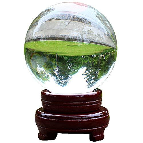 Gurxi Puntello Cristallo K9 Trasparente Lensball Palla Sfera di Cristallo Trasparente K9 con Supporto Base K9 Sfera di Cristallo 80mm Sfera di Cristallo con Supporto per Fotografia per Decorazione