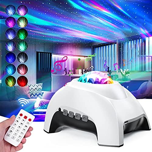Proyector de Luz Estelar, Tanbaby Lampara Proyector Estrellas, Proyector Galaxia 14 Modos Proyector LED Color Reproductor de Música, con Bluetooth/Temporizador/Remoto/Luz de aurora/Ruido Blanco