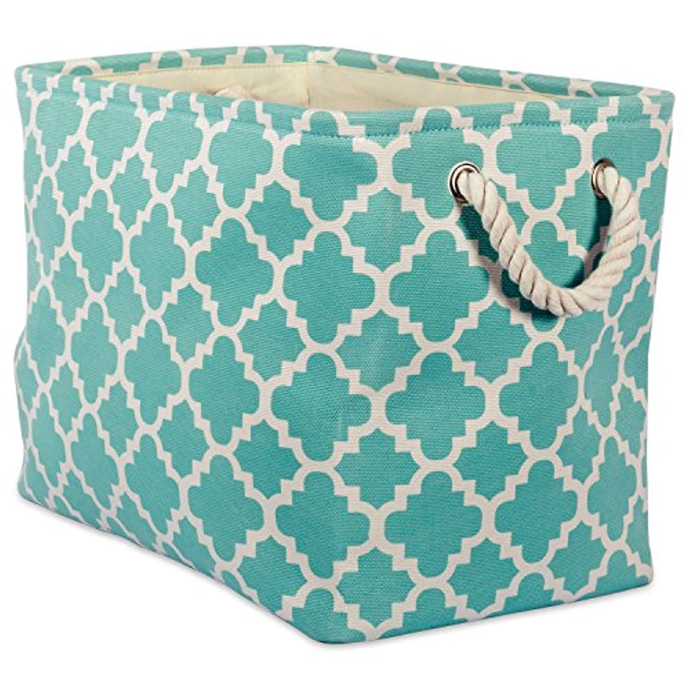 DII Printed Polyester, Collapsible and Convenient Storage Bin to Organize Office, Bedroom, Closet, Kid's Toys, Laundry ?- ?- Small Rectangle, Aqua Lattice,