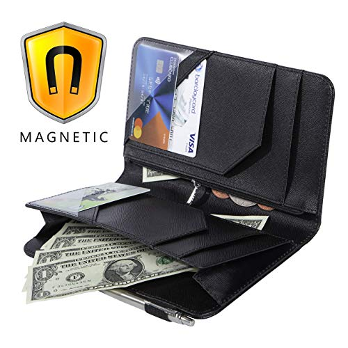 Ogalv Server Book Organizer with Zipper Pocket Magnetic Black 5x9 for Waitress Waiter with Pen Holder Fits Restaurant Guest Check Presenter Order Pad and Apron
