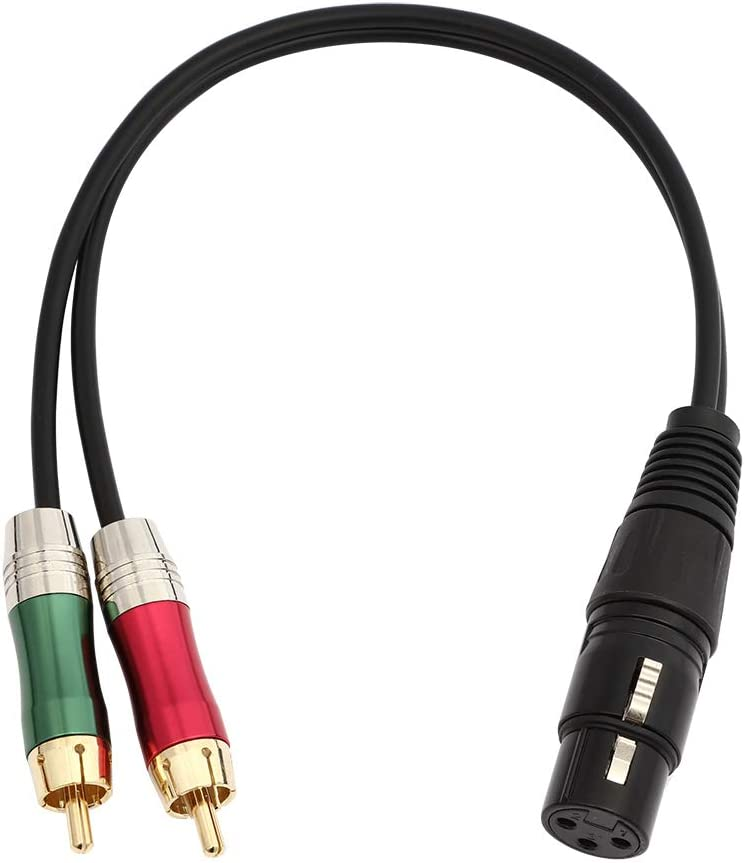 Hembra-0.3M//0.98FT Conector XLR Hembra a 2 RCA Conector de Cable de Audio Est/éreo para Amplificador picK-me Adaptador de Enchufe XLR Hembra a Doble RCA Macho Y Puente Divisor Altavoz