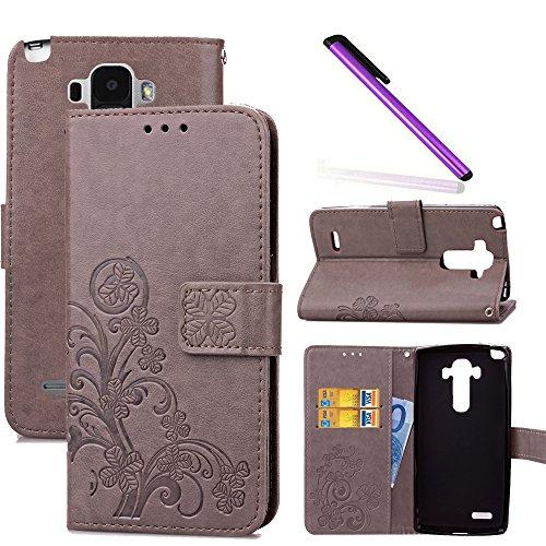COTDINFOR LG G4 Stylus Hülle für Mädchen Elegant Retro Premium PU Lederhülle Handy Tasche im Bookstyle mit Magnet Standfunktion Schutz Etui für LG Stylo / LS770 Clover Gray SD