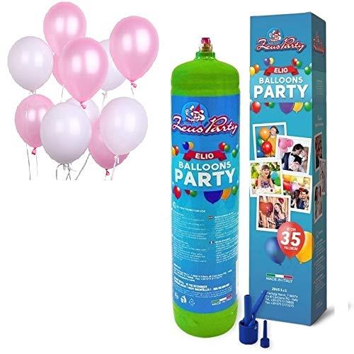 Zeus Party Bombola Elio per Il gonfiaggio di 35 Palloncini + 30 Palloncini Rosa e Bianchi Compleanno battessimo Feste