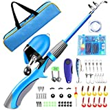 QiyuanLS Kids Fishing Pole Kit, Portable Telescopic Fishing Rod and Reel Combo with Travel Bag,...