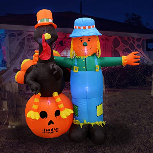 6 Foot Thanksgiving Inflatable Scarecrow + Turkey + Pumpkin