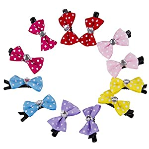 Childplaymate 10pcs Dog Hair Clips Small Bowknot Pet Grooming Dog Hairpin Accessories