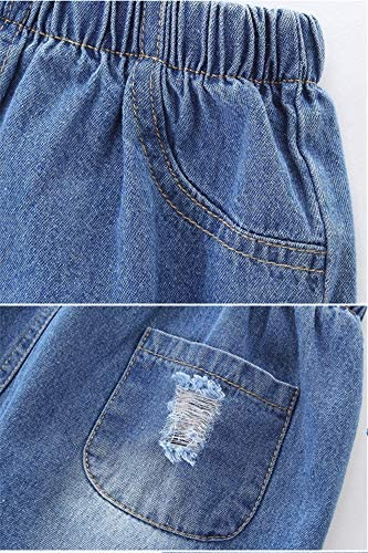 light wash Riders ripped denim trending distressed toddler Girls jeans destroyed kid pants elastic waist baby girl flares 18 mo 18M