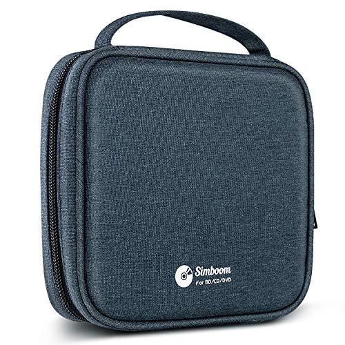 Simboom CD/DVD Mappe Etui 96 Kapazität Discs Aufbewahrung Tasche Nylon, Wasserdicht Tragetasche für Auto (Blau (für 32 CDs))
